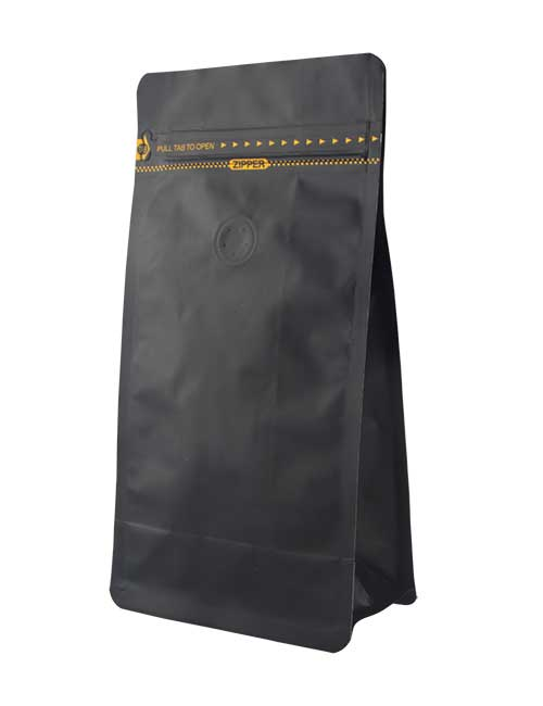 Black Flat Bottom Pouches Stand Up Bags with Tearing Strip