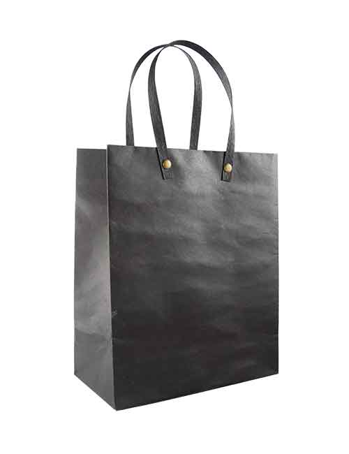 Black shopping bags with flat handle
