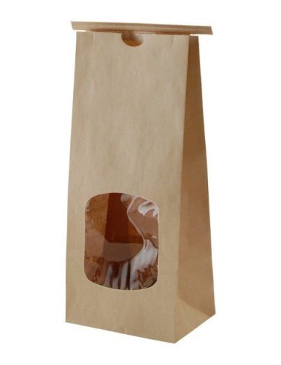 Compostable Kraft Paper Bag with Tin Tie with Window 500x650