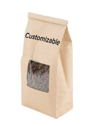 Customizable paper tin tie coffee bags with window