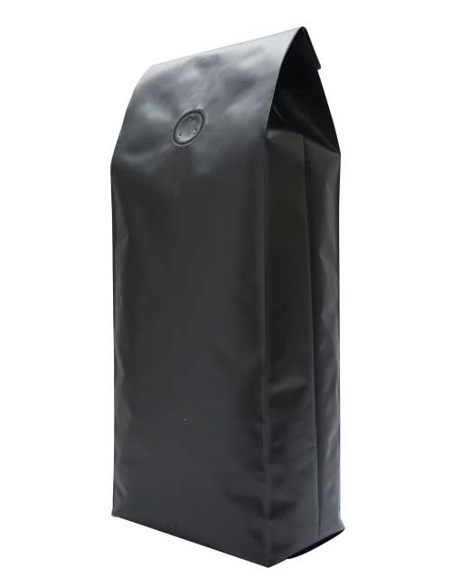 Matt BLACK Side gusseted coffee bags packaging pouches with valve 500x650