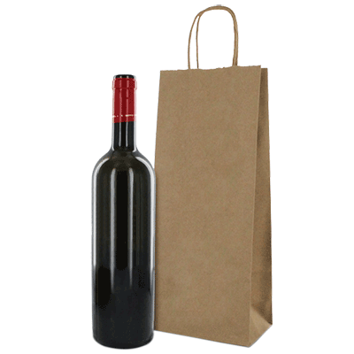 RECYCLED Brown Kraft Single Wine Bottle Paper Bags