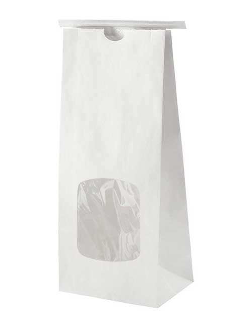 White Paper Bag with Tin Tie with Window 500