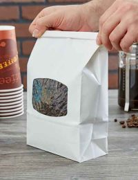 White Tin Tie paper coffee pouches with window