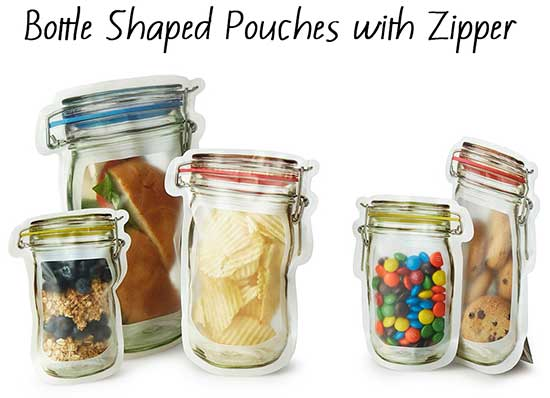 Ziplock Bottle Shaped Pouches