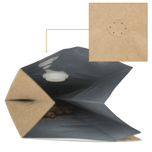 Kraft Coffee Bags w degassing Valve