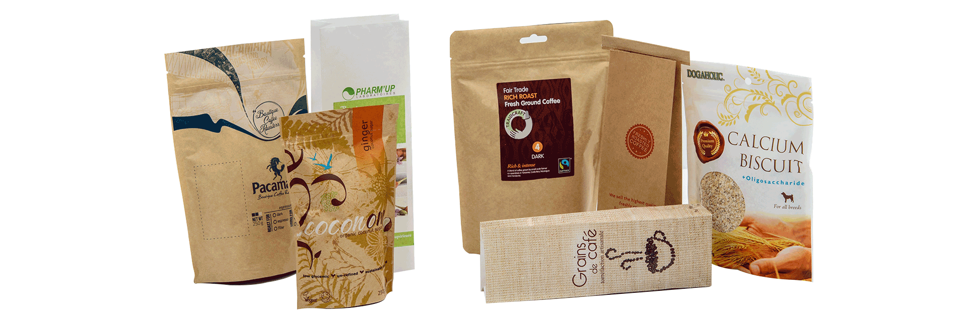 Printed Kraft Pouches TinTie Bags banner