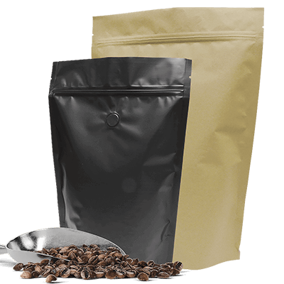 Roasted coffee bean stand up pouch packaging bags