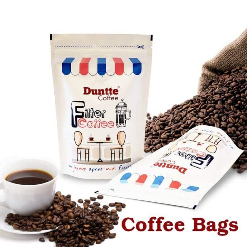 Bottom gusset stand up coffee bags with ziplock