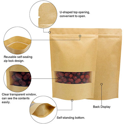 Brown kraft paper stand up pouches