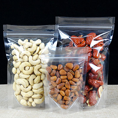 Clear Stand Up Self Sealing-Plastic Packaging Bags for Food Coffee