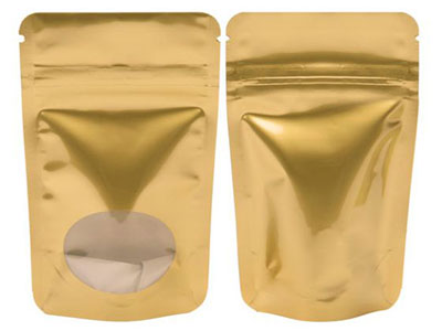 Gold Metallic Stand Up Zipper Pouch Bags w Oval Window