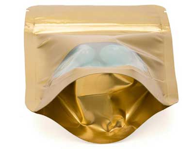 Alu Gold Stand Up Zipper Pouch Bags w Oval Window