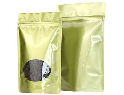 Gold stand up coffee bag