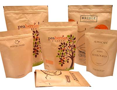Portable kraft stand up coffee bags