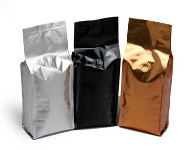 Stand up alu foil coffee bag with valves