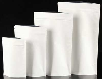White stand up coffee bags